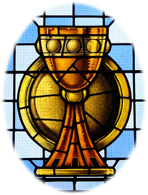 Image of stained glass window depicting the sacraments