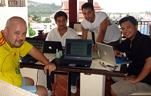 At a creative writing workshop in Phuket, Thailand. In the forefront is one of Isaac's best friends, Harith Iskandar.